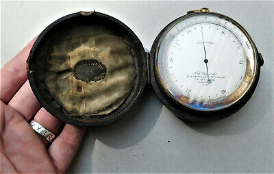NO RESERVE c1910 LARGE J H Steward Pocket Barometer Altimeter Vintage Antique