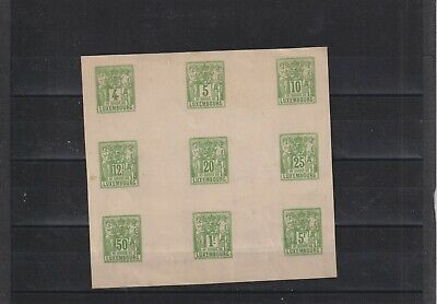 Luxembourg 1882 industry block of 9 color trial in green minor creasing  (A13)