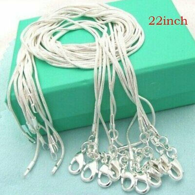 Wholesale Lots 5pcs Women 925 Silver 1MM Snake Chain Necklace For Pendant 22''
