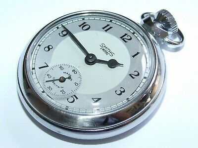 Lovely Condition Two Tone Dial Vintage Smiths Empire Pocket Watch Fully Working