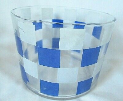 Rare Vtg BLUE CHECKERBOARD Swanky Swigs frosted clear glass ICE BUCKET 1940s 50s