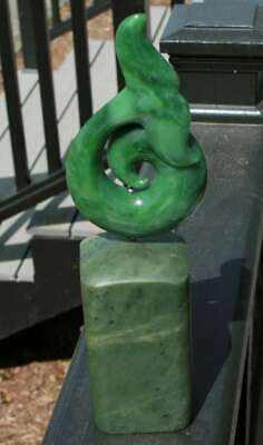 Green Genuine Natural Nephrite Jade Whale Tail Sculpture on Jade Base Figure