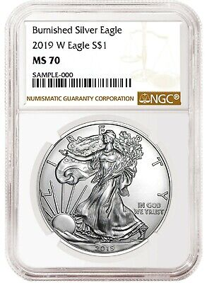 2019 W Burnished Silver Eagle NGC MS70 - Brown Label