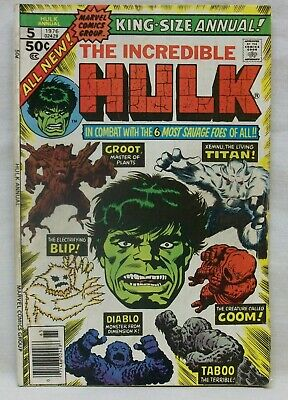 1976 Incredible Hulk Comic Marvel King-Size Annual (V.1, No.5) in Good Condition