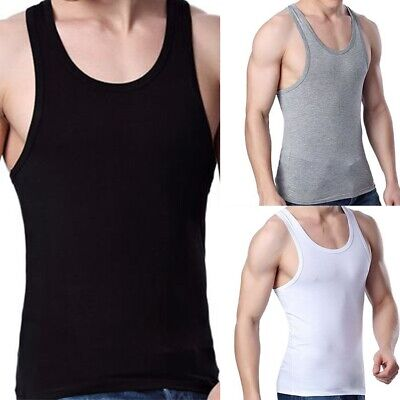 Mens Polyester Tank Top Vest Wife Beater Undershirt Ribbed Summer Thin Tight New