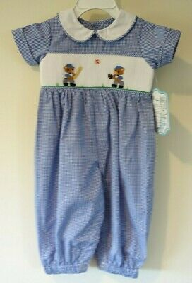 10c3a37a4 BNWT Remember Nguyen Smocked Baseball Bears Longall Boy's Size 24 Month