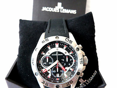 New Jacques Lemans Chronograph Model 1-1773A Liverpool Silicon Strap Bnwt Boxed