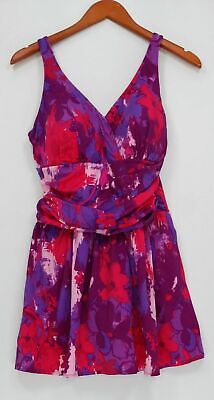 fcb4e3623764d Denim & Co. Swimsuit Sz 16 Beach Ruched Flounce Swim Dress Purple A288836