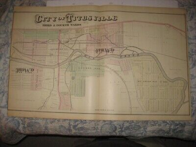 Antique 1876 Titusville Crawford County Pennsylvania Handcolored Dated Map Rare