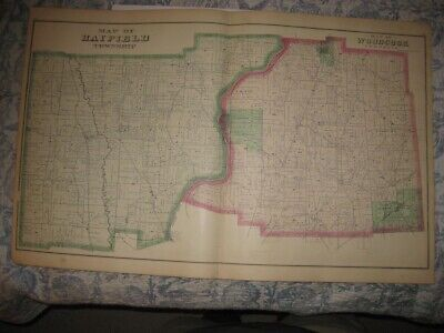 Antique Hayfield Woodcock Greenwood Township Crawford County Pennsylvania Map Nr