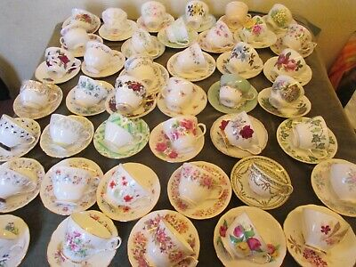 Lovely Selection Of Vintage Mismatch Cups And Matching Saucers