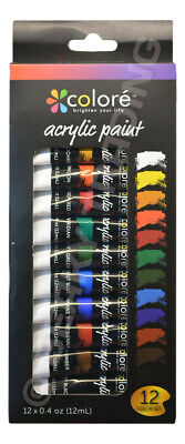 Genuine Colore Acrylic Paint 12 Colour Set (12 x 12ml) Renowned Quality in Box