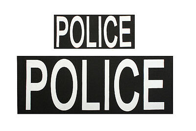 police patch set of 2 w/ hook back backing black rothco 1910