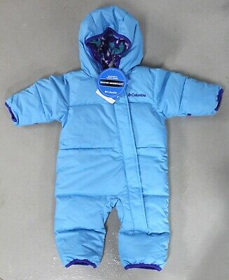 6fff917d7 Columbia 3-6 mth Snuggly Bunny Baby Bunting Down Fill Winter Snow Suit, Blue