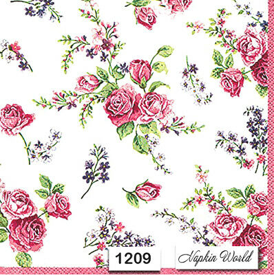 (1209) TWO Individual Paper Luncheon Decoupage Napkins - ROSES FLOWERS FLORAL