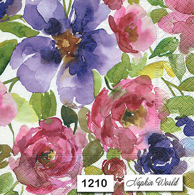 (1210) TWO Individual Paper Luncheon Decoupage Napkins - WATERCOLOR  FLOWERS