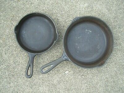 Lot of 2-Wagner Ware Sidney Cast Iron Skillets /Pans~-0- # 5 1055 & -0- #3