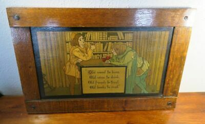 1904 Arts & Crafts Tabor Prang Francis Bacon on Age Motto Print in Oak Frame