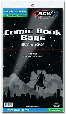 Resealable Modern/Current Comic Book Bags - 6 x 10 - BCW Free Shipping!