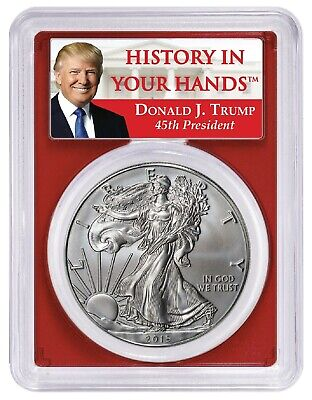 2019 W Burnished Silver Eagle PCGS SP70 Red First Day Issue Donald Trump