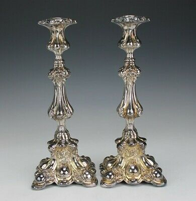 Pr Sterling Silver 925 Ornate Baroque Style Shelf Mantle Candleholders 587g AJB