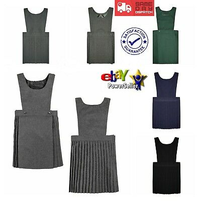 Girls Kids Pleated Pinafore Dress School Uniform All Sizes Black/Green/Grey/Navy