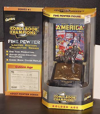 1996 Marvel Comic Book Champions Captain America Pewter NIB With Certificate