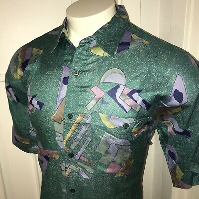 Vtg 70s 80s MEBI Mens LARGE Rayon Disco SHIRT Green Hipster All Over Print S/S