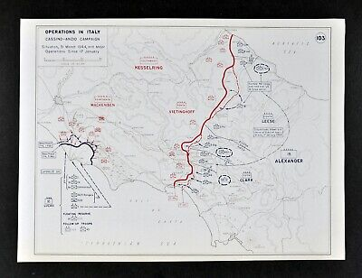 West Point WWII Map Italy Battle of Monte Cassino & Allied Landing Anzio Rome