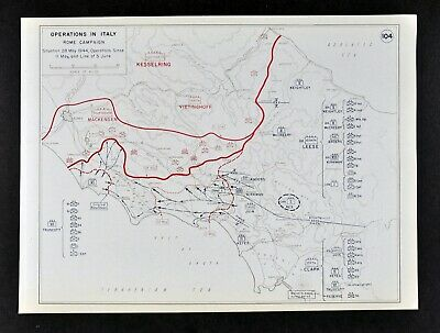 West Point WWII Map Italy Rome Campaign Anzio Beachhead Battle of Monte Cassino