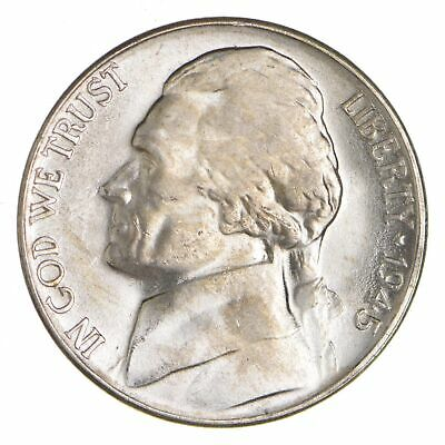 5c BU Unc MS 1945-D Jefferson WARTIME Silver Nickel *955