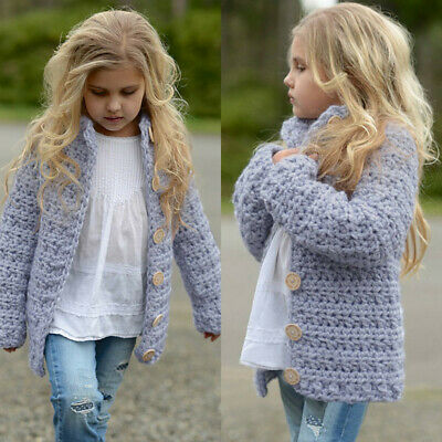 Toddler Kids Girls Outfit Clothes Button Knitted Sweater Cardigan Coat Tops 3-7T