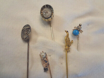 Fabulous Lot Of 5 Antique Victorian Figural Stick Pins - Spider -Hand -Lizard ++