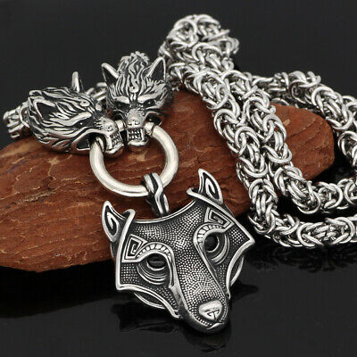 High Quality Men's Norse Viking Wolf Pendant Stainless Steel Necklace Jewelry