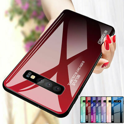 For Samsung Galaxy S10 Plus S9 S8 Gradient Tempered Glass Case Hybrid Hard Cover