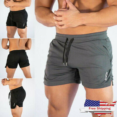 4bc8f390505 USA Men Swim Fitted Shorts Bodybuilding Workout Gym Running Tight Lifting  Shorts