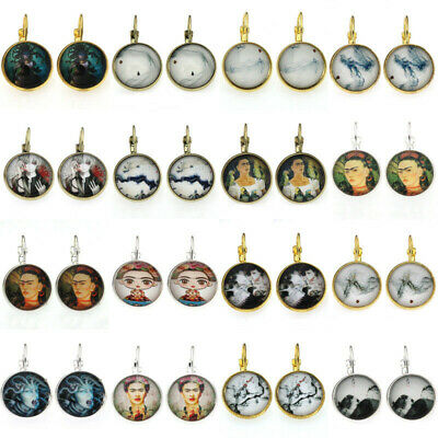 1 Pair Women's Fashion Bronze Glass cabochon 18mm Lever Back Jewelry Earring