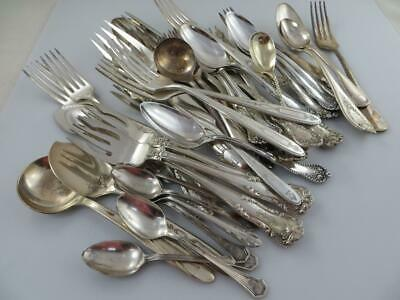 40 pc. Lot  Silverplate  Flatware For Craft or Use Misc. Patterns With Monogram