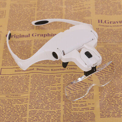 LED Headband Magnifier Headset Head Lamp Light Jeweler Watches Magnifying Glass