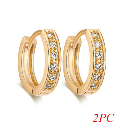 Brilliant Womens 14k Gold Filled Sapphire Crystal Fashion Hoop Earrings Jewelry