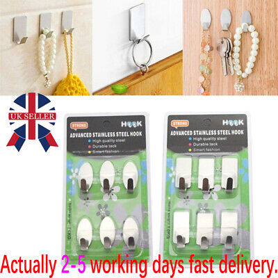 6x Stainless steel self adhesive hook hanger.Oval, rectangular.sticky hooks W