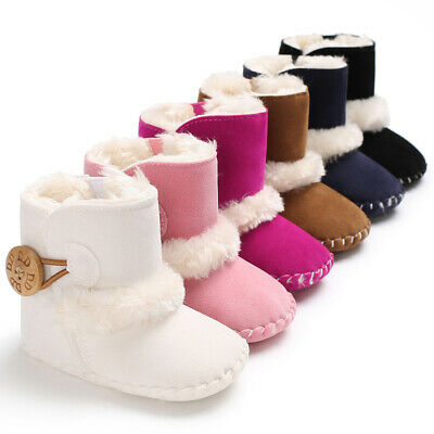 99aa07173c96 Baby infant Girls Winter Warm Boots Newborn Toddler Soft fleece Sole Shoes 0 -18M
