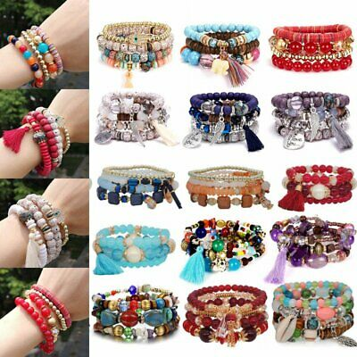 Retro Ethnic Multilayer Big Beads Bracelet Boho Crystal Tassel Bangle Jewelry