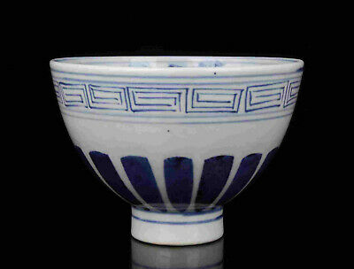 China Old Collectible Hand- Painting Blue And White Porcelain Bowl Desktop Decor