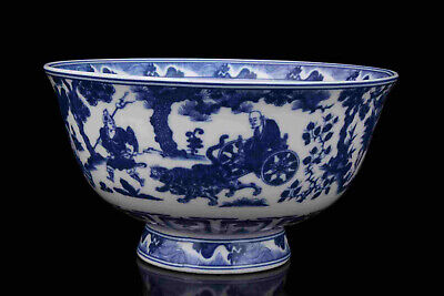 China Old Collectible Hand- Painting Blue And White Porcelain Bowl
