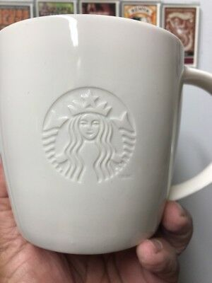 Starbucks 2010 All White Coffee Cup Mug V 20oz Venti Embossed Logo.