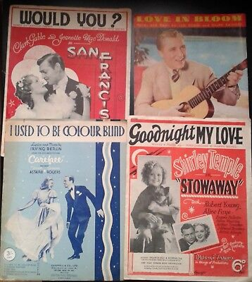 SHEET MUSIC,LOT OF 4 FILM.San Francisco/Love in Bloom/Carefree/Shirley Temple