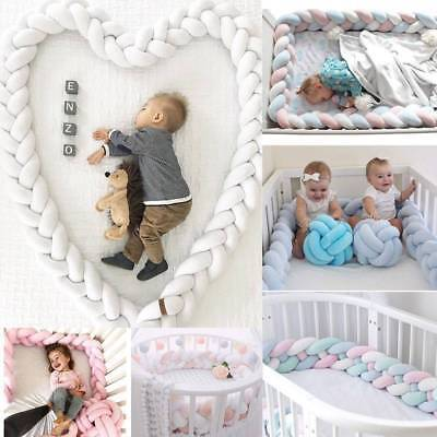 New 1/2/3M Infant Plush Crib Bumper Bed Bedding Cot Braid Pillow Pad Protector