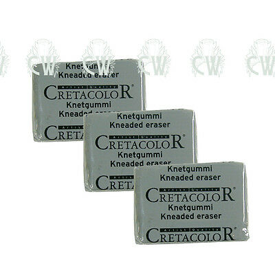3 X Cretacolor Artists Kneaded Putty Rubber Eraser. Pencil,Charcoal & Pastel.