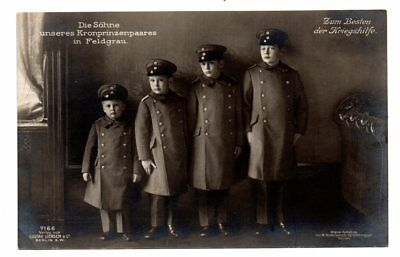 GERMAN ROYALTY, KAISER'S 4 GRANDCHILDREN IN MILITARY UNIFORMS, RPPC c. 1904-14